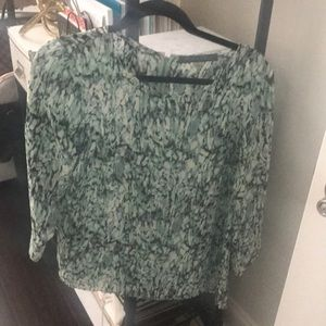 Like new green white black and cream blouse